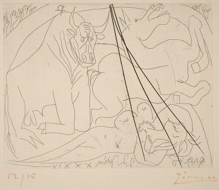 Bull, Horse, and Reclining Woman III (Femme torero III)