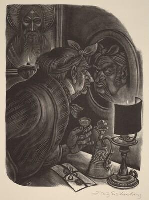 Fyodor Pavlovich Examines His Bruises (Book VIII: Mitya, facing p.308)