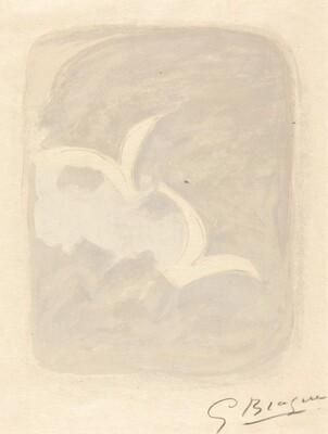 Two White Birds on a Gray Ground