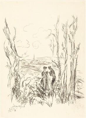 Two Figures between Trees