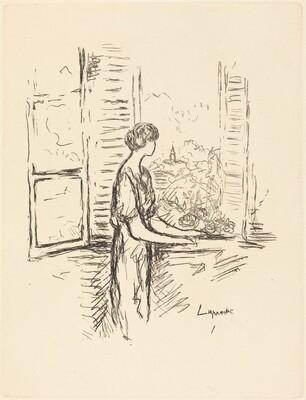 Woman Standing by an Open Window