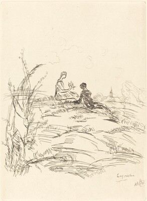 Two Figures Seated on a Hillock