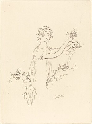 Woman with Flowers in Her Hands