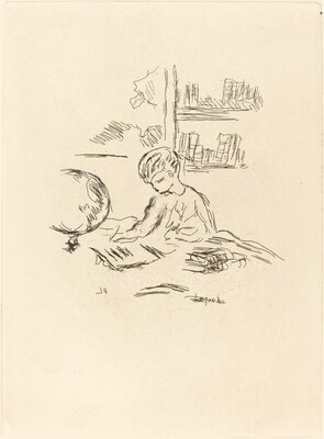 Figure Seated at a Desk with Globe and Books