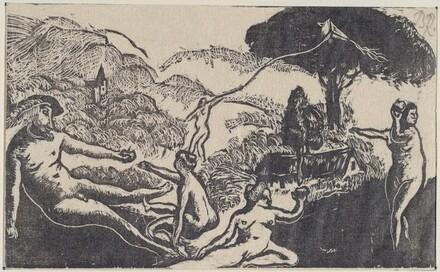 Gargantua avec les 3 graces mais - a chacune une pomme (a la R.)