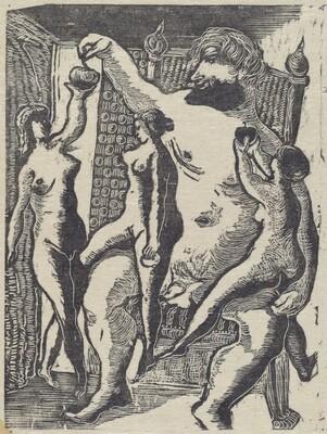 Gargantua avec les trois graces - mais a chacune une pomme (a la R.)