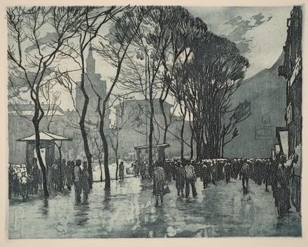 Twilight Rain in Red Square