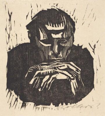 Small Male Head with Hands I (Kleiner Mannerkopf mit Handen I)