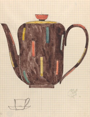 Teapot, with Sketch of Cup