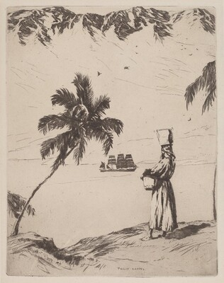 Coastal Scene with Palm Trees and Standing Woman