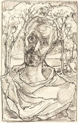 Self-Portrait with Background of Trees