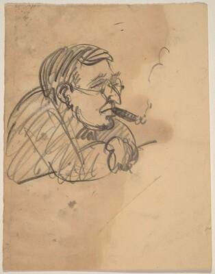 Caricature of a Man Smoking a Cigar