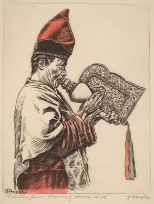 Tibetan Lama Blowing a Conch Shell