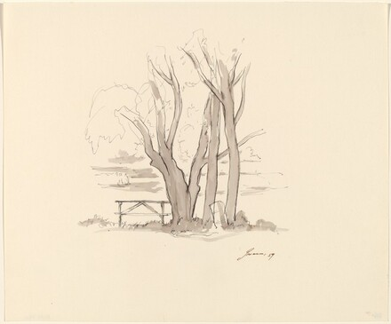 Trees, Picnic Table, Trash Can