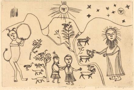 Folk Scene: Devil, Christ, Man, Woman, and Animals in a Landscape