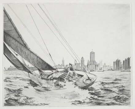 Sailboat Heeling Near a City