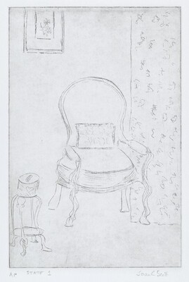 Table and Chair with Picture and Drapery