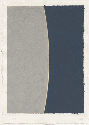 Colored Paper Image VIII (Gray Curve with Blue)