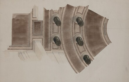 View from Rotunda Ceiling to Floor Below: Five Black Marble Columns Showing