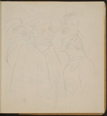 Vier Männer in Uniform (?) (Four Men Wearing Uniforms) [p. 7]