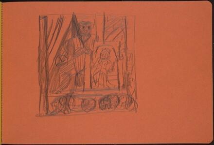 Zwergenkönig und Riese auf einer Bühne (Dwarf King and Giant on a Stage) [p. 13]