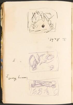 Drei kleine Skizzen mit Bezeichnung (Three Small Sketches with Inscriptions) [p. 38]