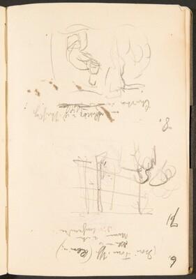 Zwei Skizzen, Bezeichnungen (Two Sketches with Inscriptions) [p. 39]