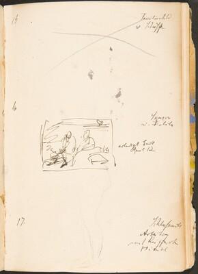 Zwei bezeichnete Skizzen, Notizen (Two Inscribed Sketches, Notations) [p. 48]