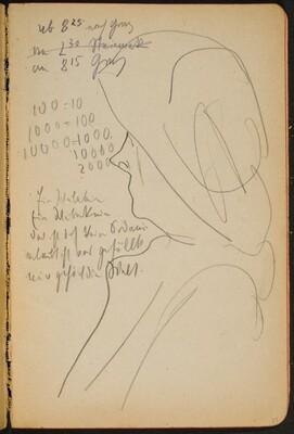 weibliches Profil mit Hut, Notizen (Woman with Hat, Notations) [p. 39]