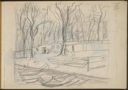 Parklandschaft am Ufer mit Booten (Riverboat Dock in a Park) [p. 1]