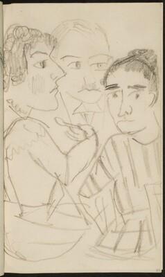 Drei zu Tisch sitzende Figuren (Three Figures at a Table) [p. 77]