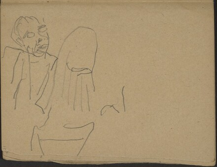 Singender (?) Mann und begonnene Studie (Two Figures, One Might Be Singing) [p. 15]