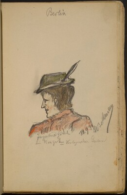Woman in Profile Wearing a Feathered Hat