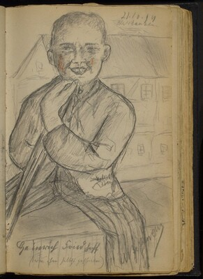 Young Man Smiling, Seated before a Building