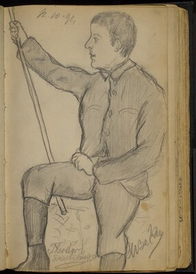 Young Man in Knickers Holding a Staff