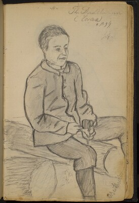 Boy Seated on Logs (Thomas Diestelmann)