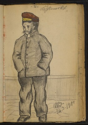 Standing Man in a Jacket and Red Hat