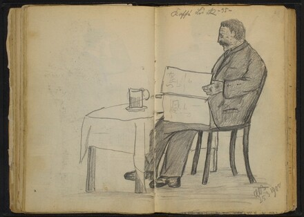 Man Seated at a Table, Reading a Newspaper