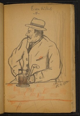 Man Holding a Cane, Seated at a Bar