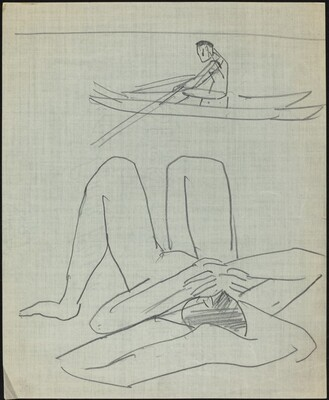 Figure in a Rowboat and Reclining Female Nude