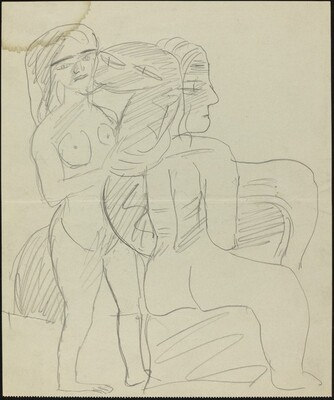Two Nude Figures and Serpent
