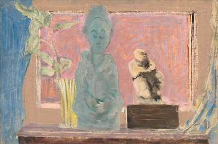 Untitled (still life with vase and two statues)
