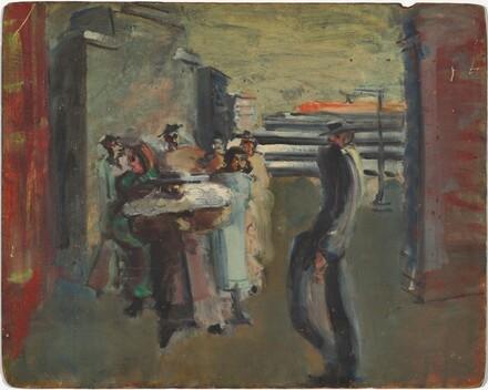 Untitled (street scene with walking man)