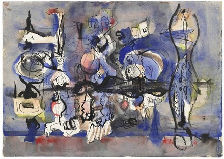 Abstract Composition in Blue, Black, Gray, Red, and Yellow