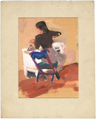Rear View of a Woman Seated at a Desk