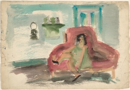 Woman Seated on a Red Sofa [recto]