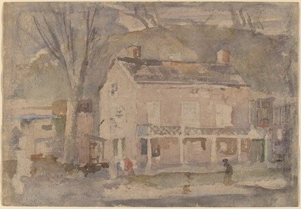 House with Figures Walking By [recto]
