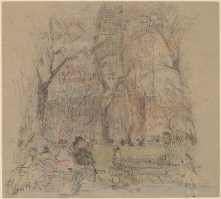 Untitled (Church and Figures on Park Benches)