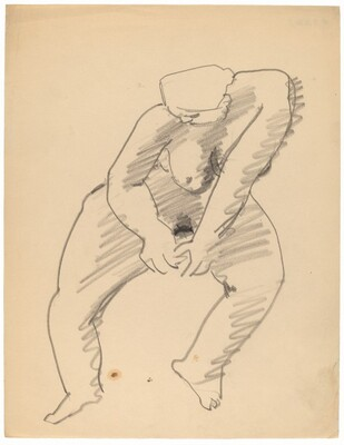 Seated Nude Leaning to the Right, Head Lowered
