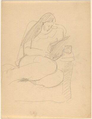 Woman Curled Up in Chair, Reading